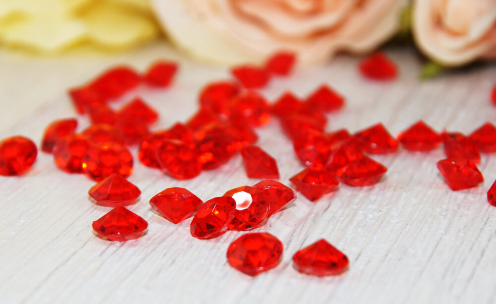 Red Diamond Rhinestone Crystal Table Scatter Vase Filler Confetti Wedding Supply Bridal Shower Anniversaries Parties