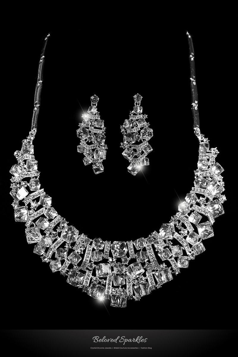 Daja Art Deco Cube Confetti Cluster Crystal Bib Necklace Set, Bridal & Earrings Fashion Wedding Bridesmaid Set