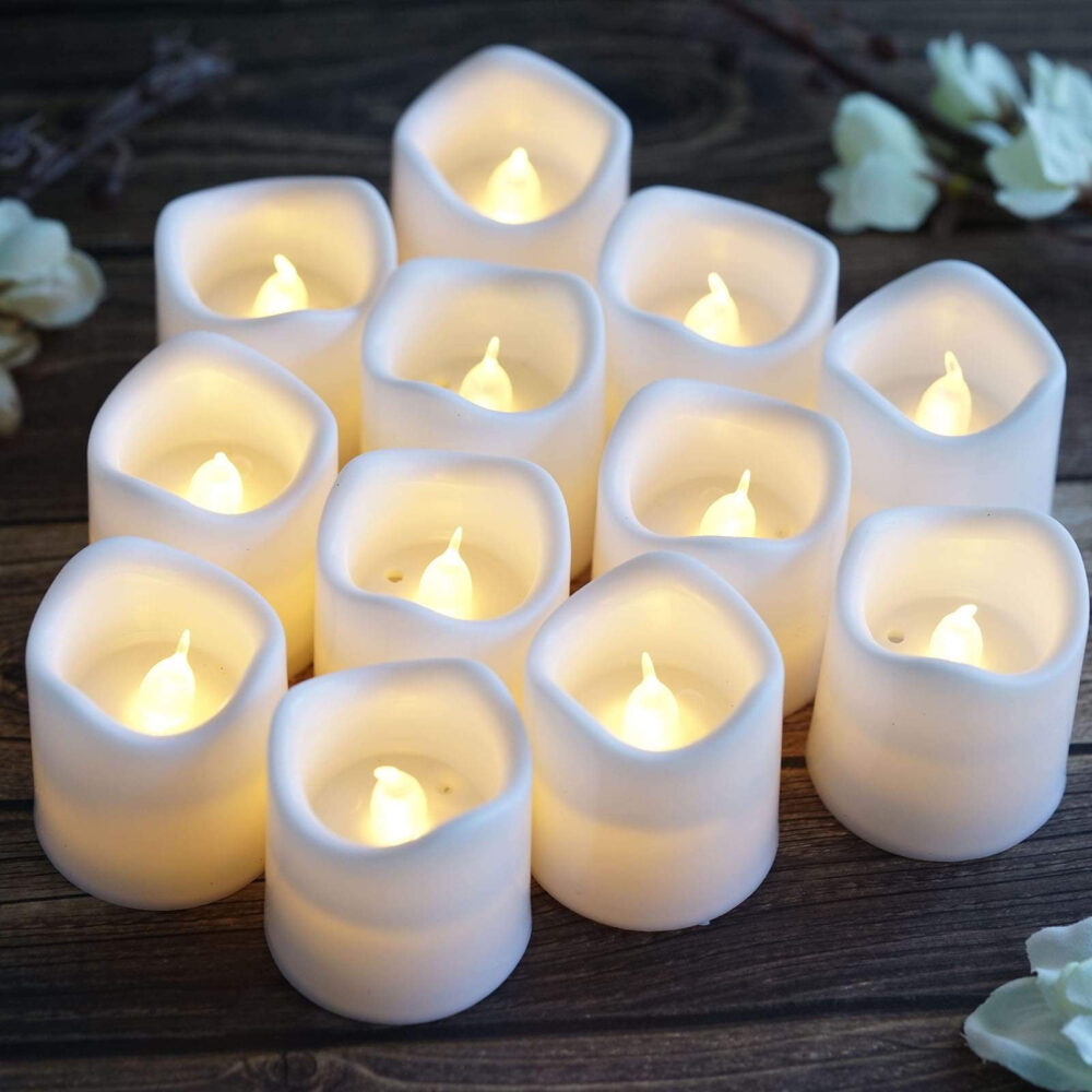 "12 Pack | 2"" White Flameless Candles, Led Votive Battery Operated Tealight Dripless Candle Gift"