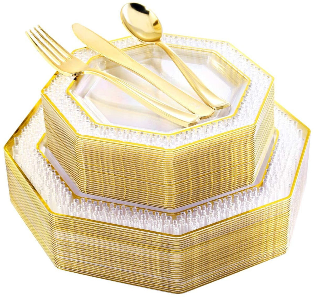 150 Pcs Gold Plastic Plates With Silverware, Clear Disposable Dinnerware For Party & Wedding, Rims Lace Design, Includes
