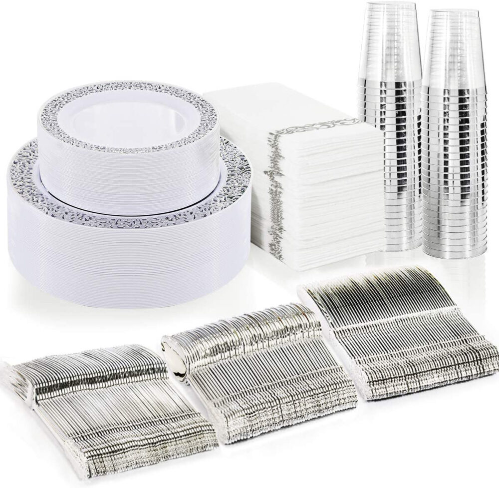 175 Piece Silver Dinnerware Set 25 Guest-50 Lace Plastic Plates-25 Silverware-25 Cups-25 Linen Like