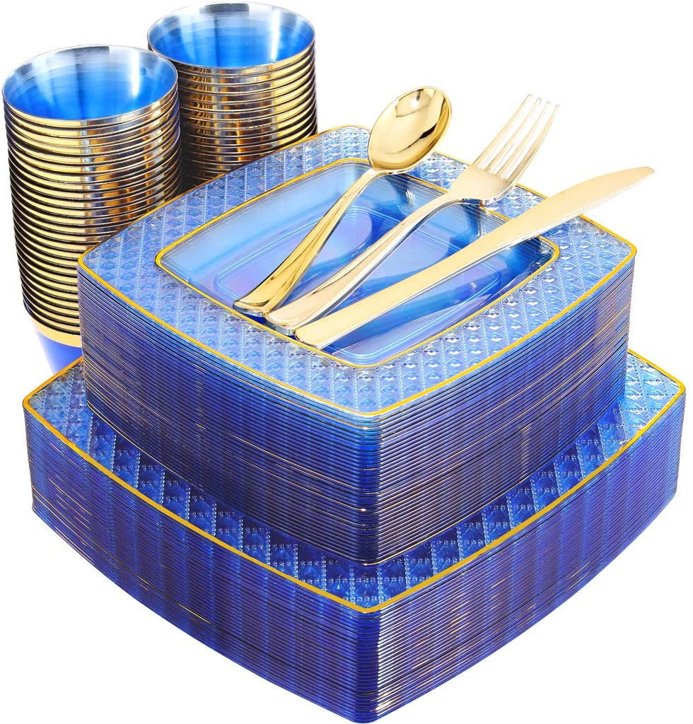 150Pcs Clear Blue Plastic Plates With Gold Rim &gold Silverware-Disposable Wedding Party Include25Dinner Plates