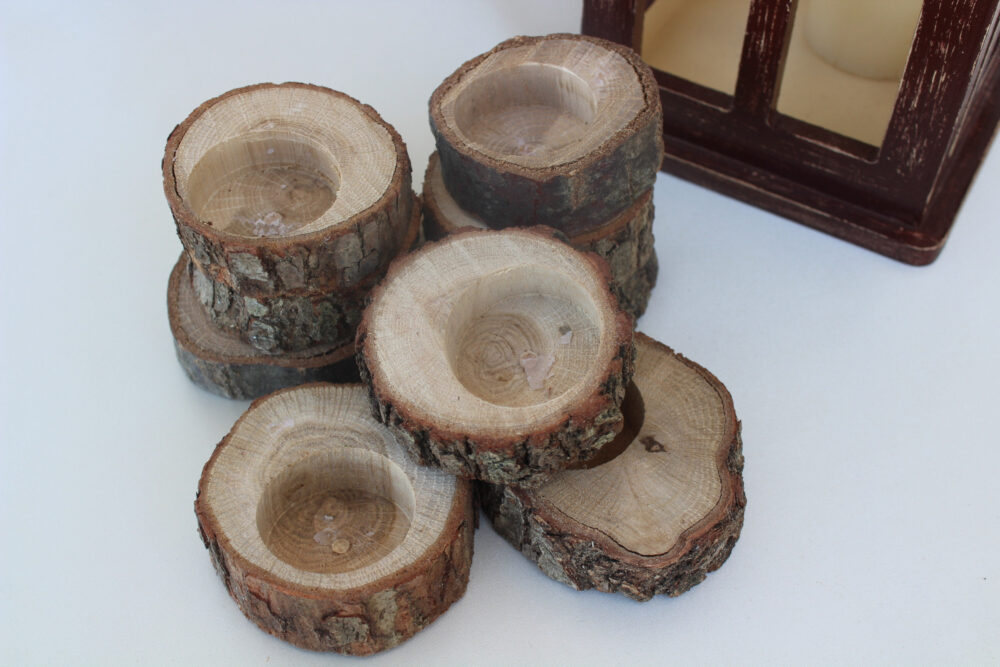 Wood Tealight Candle Holder, Wedding Favors For Guests in Bulk, Rustic Christmas Candle, Slices, Winter Candles