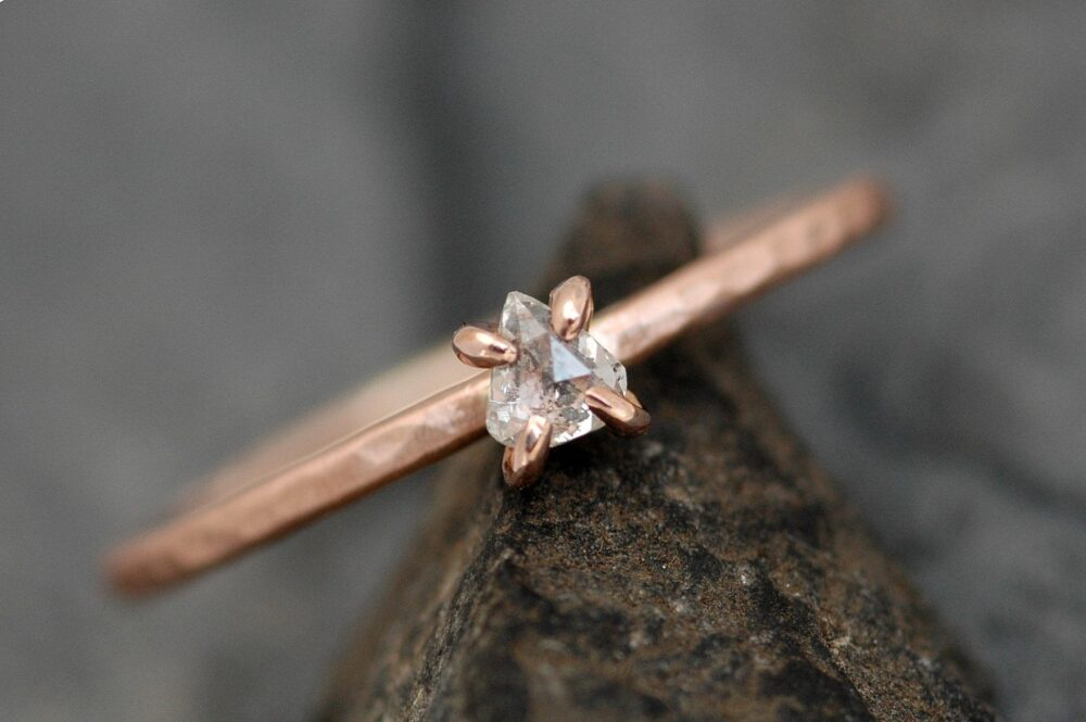 Rose Cut Clear White Diamond On Recycled 14K Gold Hammered Band - Ready To Ship Or Custom Made Engagement Ring