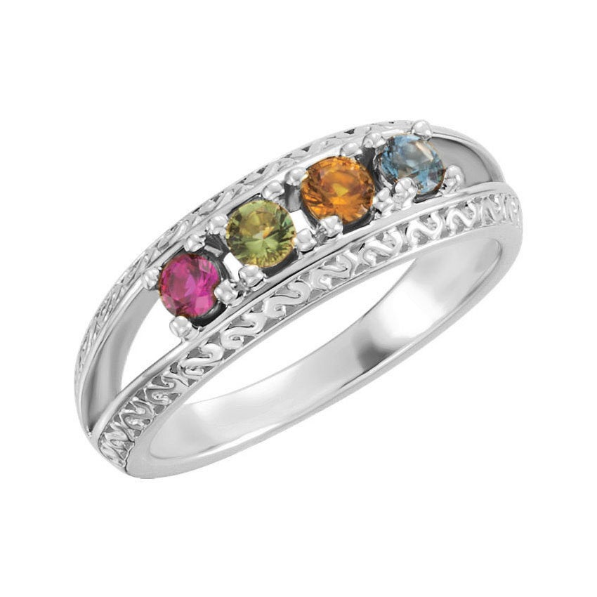 Family Birthstone Ring 2 - 5 Stones Personalized Sterling Silver Mother's Day Jewelry