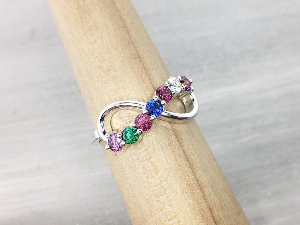 Family Birthstone Ring Seven Stone Mothers Ring, Personalized Birthstone, Jewelry, Band, Day Gift