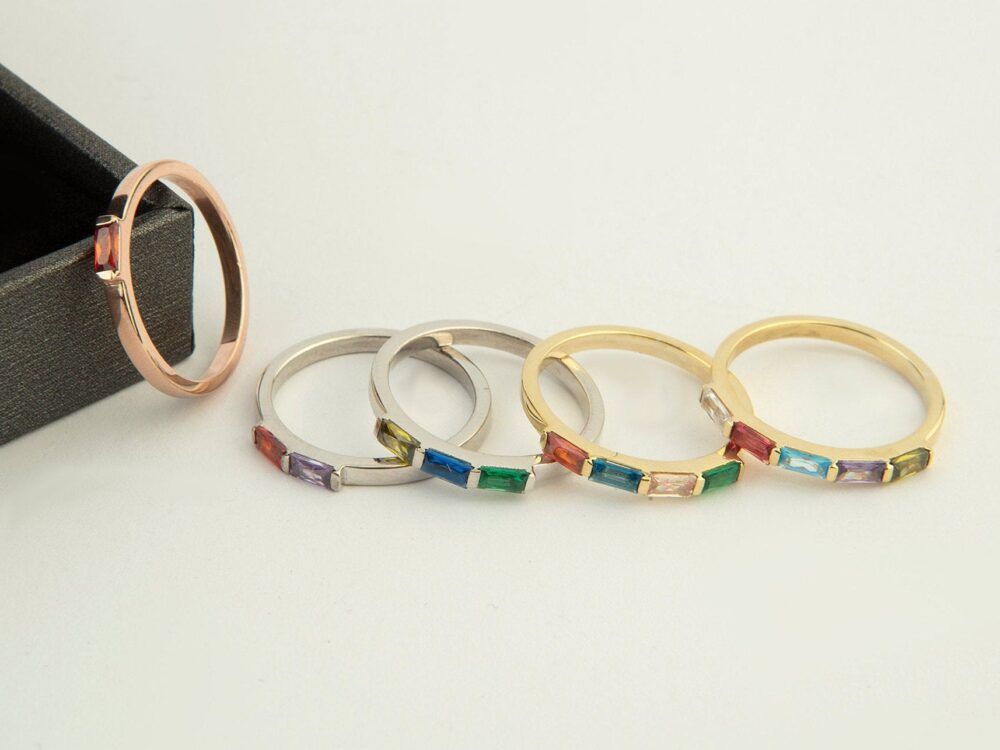 Family Birthstone Rings, Baguette 14K Gold Mother's Day Gifts