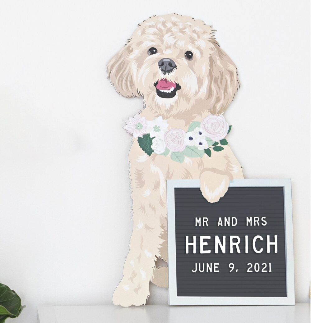 Pet Portrait Letter Board Wedding Sign Wood Cut Out For Reception - Dog With Flower Collar