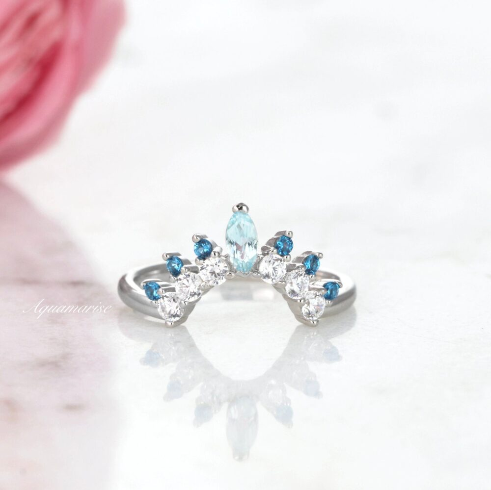 Aquamarine & Swiss Blue Topaz Wedding Band - Sterling Silver Curved Ring - Arc Matching Stacking Ring