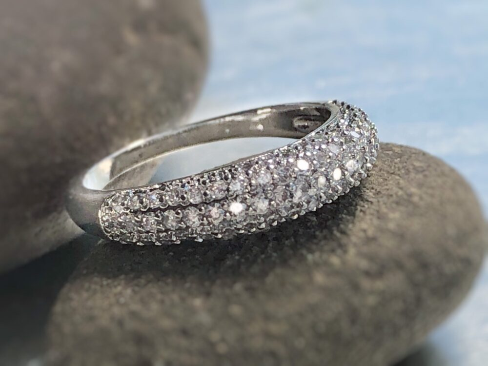 Pavé Wedding Band in 18K White Gold, Gift For Her, Mom