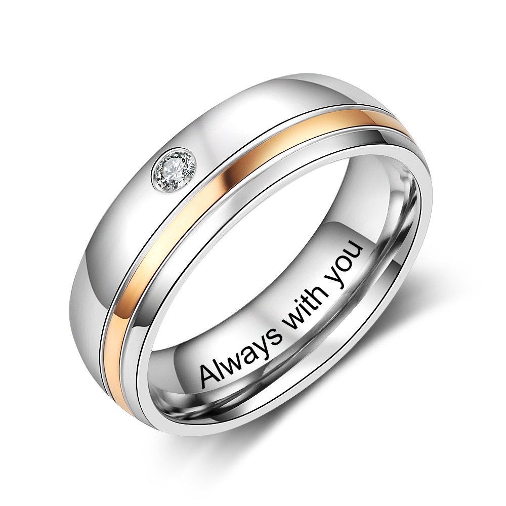 Custom Engravable Two-Tone Personalized Wedding Band Ring With Single Cz in Sizes 5, 6, 7, 8, 9, Or 10