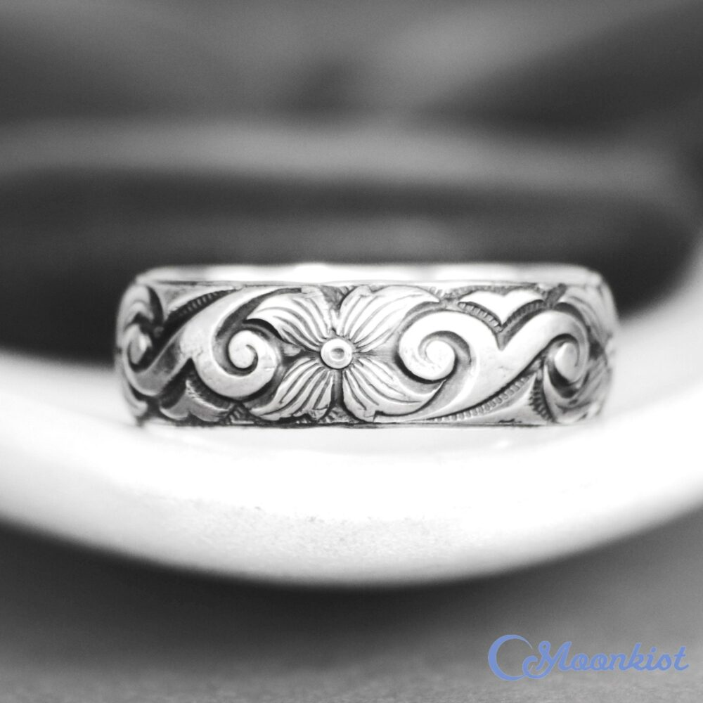 Size 6 Dogwood Wedding Band, Sterling Silver Ring For Women, Wide Band Ring, Botanical | Moonkist Gallery