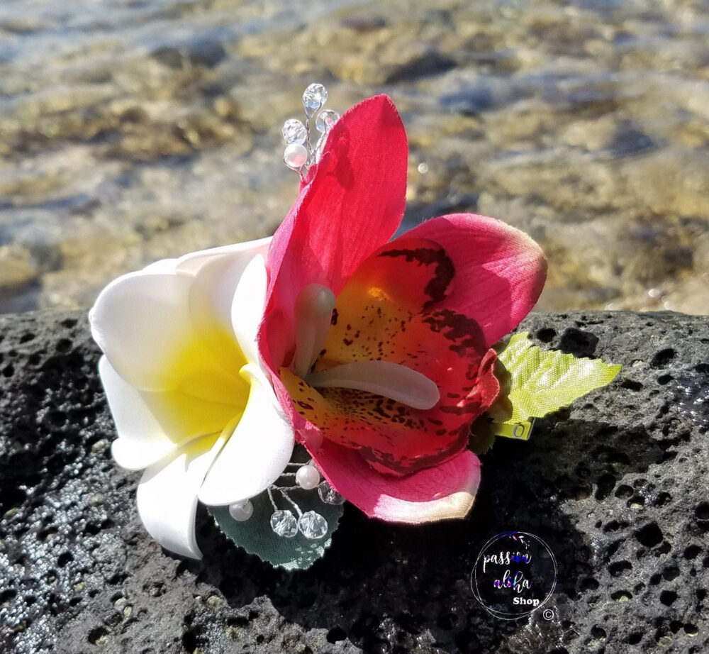 Tropical Hair Clip, Hawaiian Flower Orchid With Double Plumeria & Crystal/Pearls Bridal Piece, Floral Fascinator