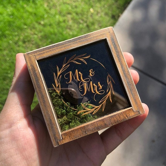 Wedding Engagement Ring Box Bearer Wood Personalized Small Wooden Holder Proposal Rustic Save The Date