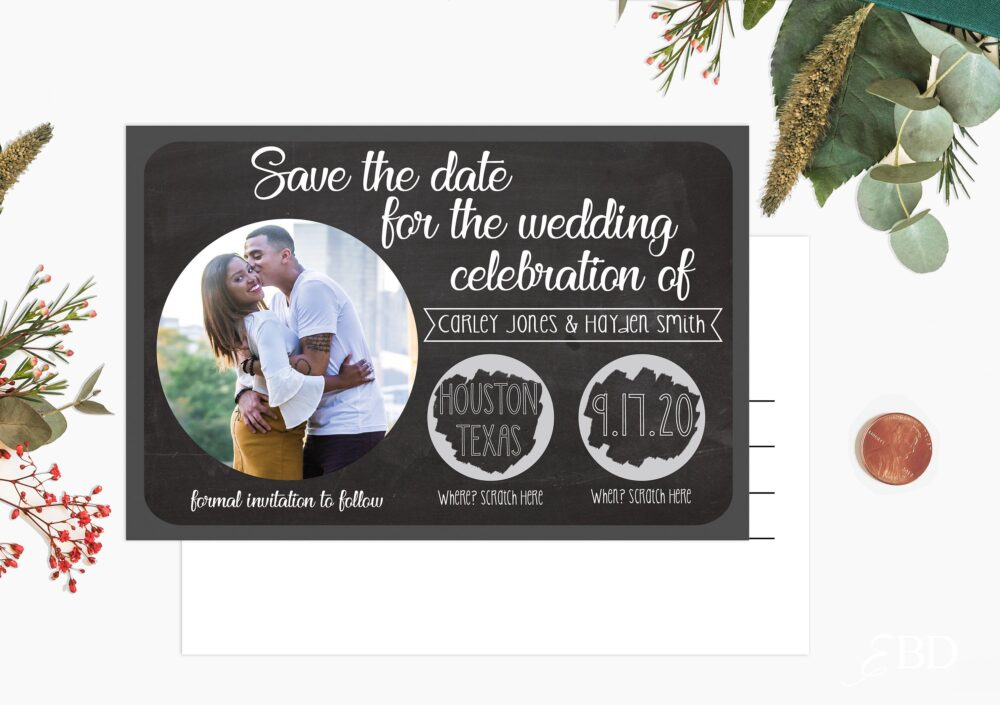 Scratch Off Save The Date Cards - Postcard Style Chalkboard