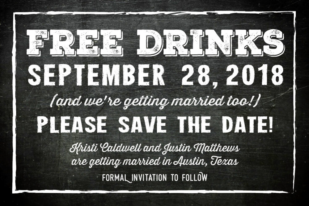 Free Drinks Save The Date Postcards • Engagement Announcement 6x4 Printed Chalkboard Style Unique Wedding