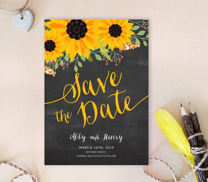 Sunflower Save The Date Cards Printed On Premium Cardstock | Chalkboard Sunflower Save Dates Country Wedding
