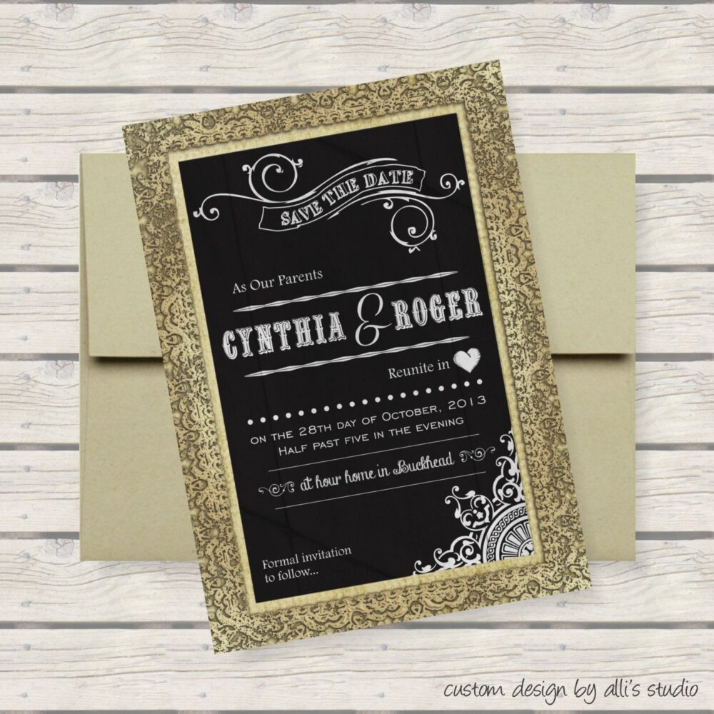 Chalkboard Save The Date/Burlap Cottage Chic Steampunk Eco Friendly