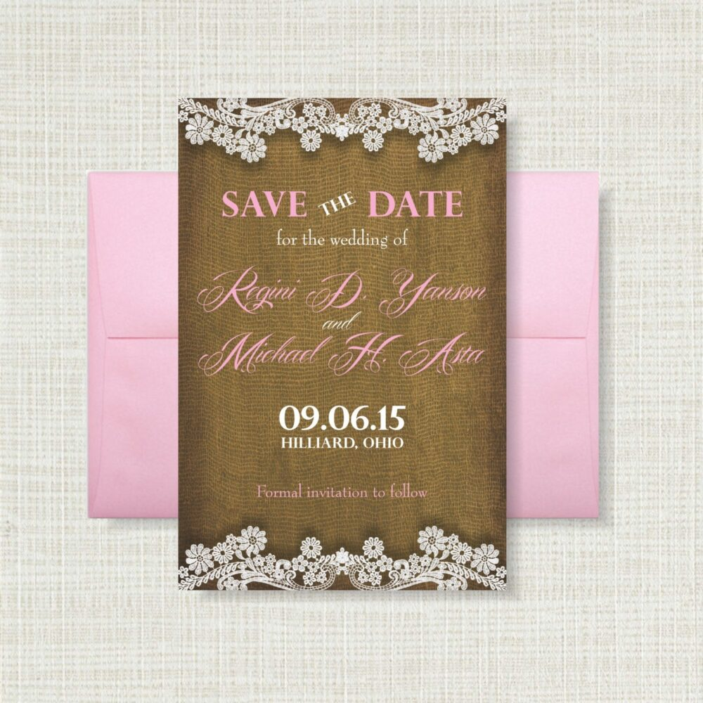Burlap & Lace 4x6 Save The Date Card Shabby Chic Cottage