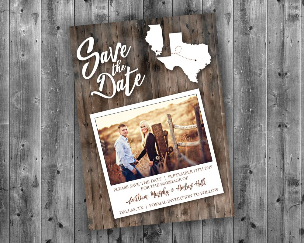 State, Rustic Save The Date Cards, State The Date, Affordable, Cheap, Wedding Invitations, Lights, Wood, Country, Postcard