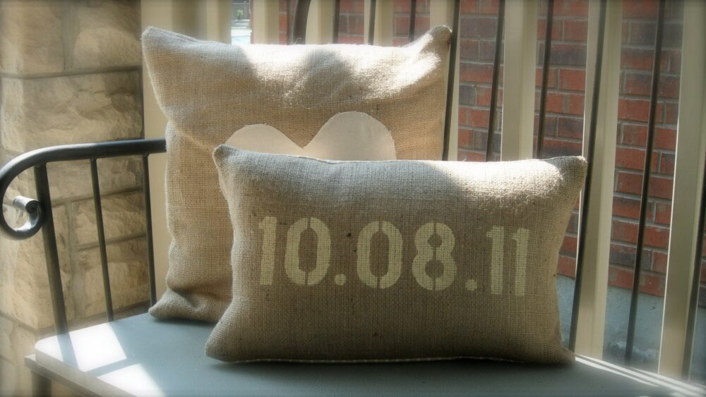 Save The Date Custom Burlap Wedding Pillow Cover 12x18 Features & Est Date - Shabby Chic, French Country Home Decor, Gift
