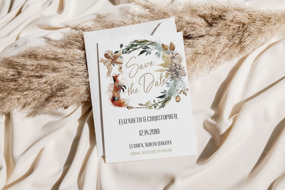 Winter Woodland Save The Date, Rustic Date Card, Invitation, Forest Fox
