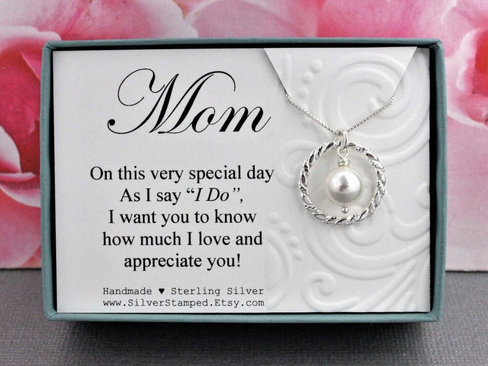 Wedding Gift For Mom From Groom Or Bride Sterling Silver Swarovski Pearl Necklace Mother, Mom
