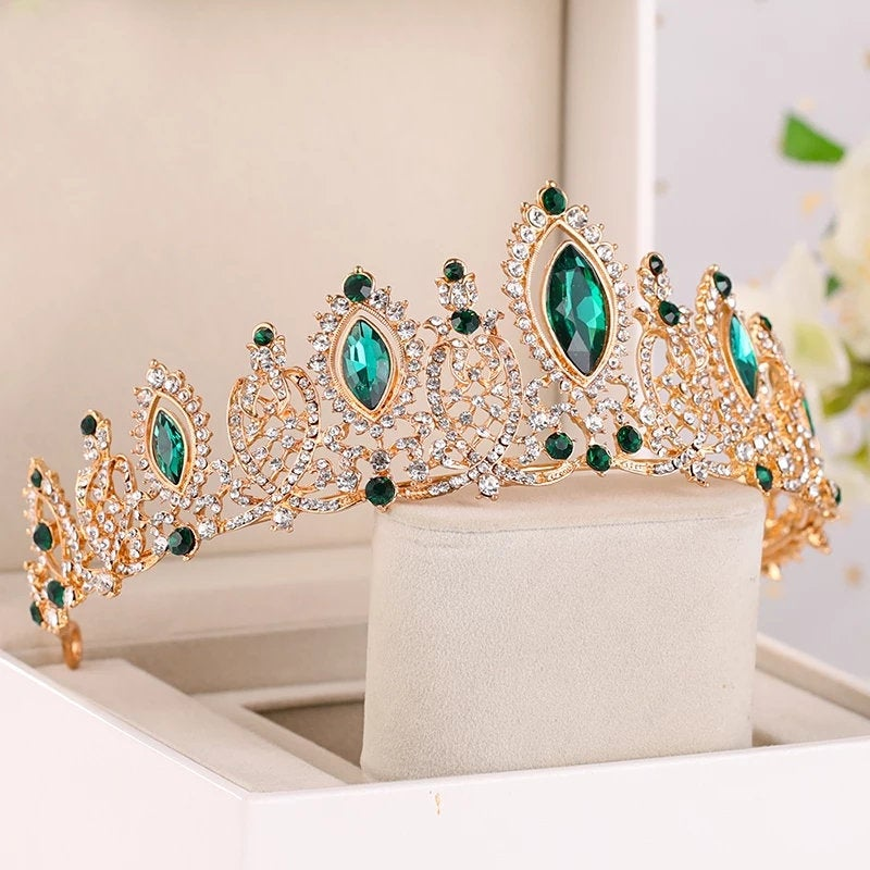 Luxury Green Crystal Wedding Crown Bride Tiaras & Crowns Queen Diadem Pageant Party Bridal Hair Jewelry Accessories