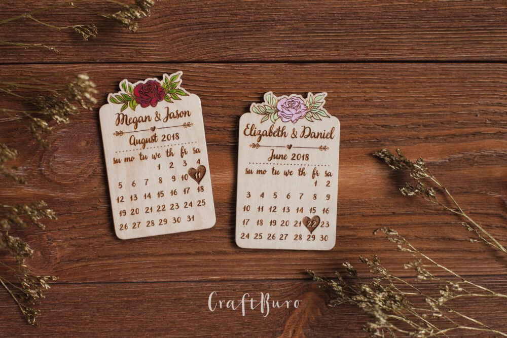 Calendar Save The Date Magnet, Custom Magnets, Personalized Wedding Magnets Wooden, Wood Date, Fridge Magnet