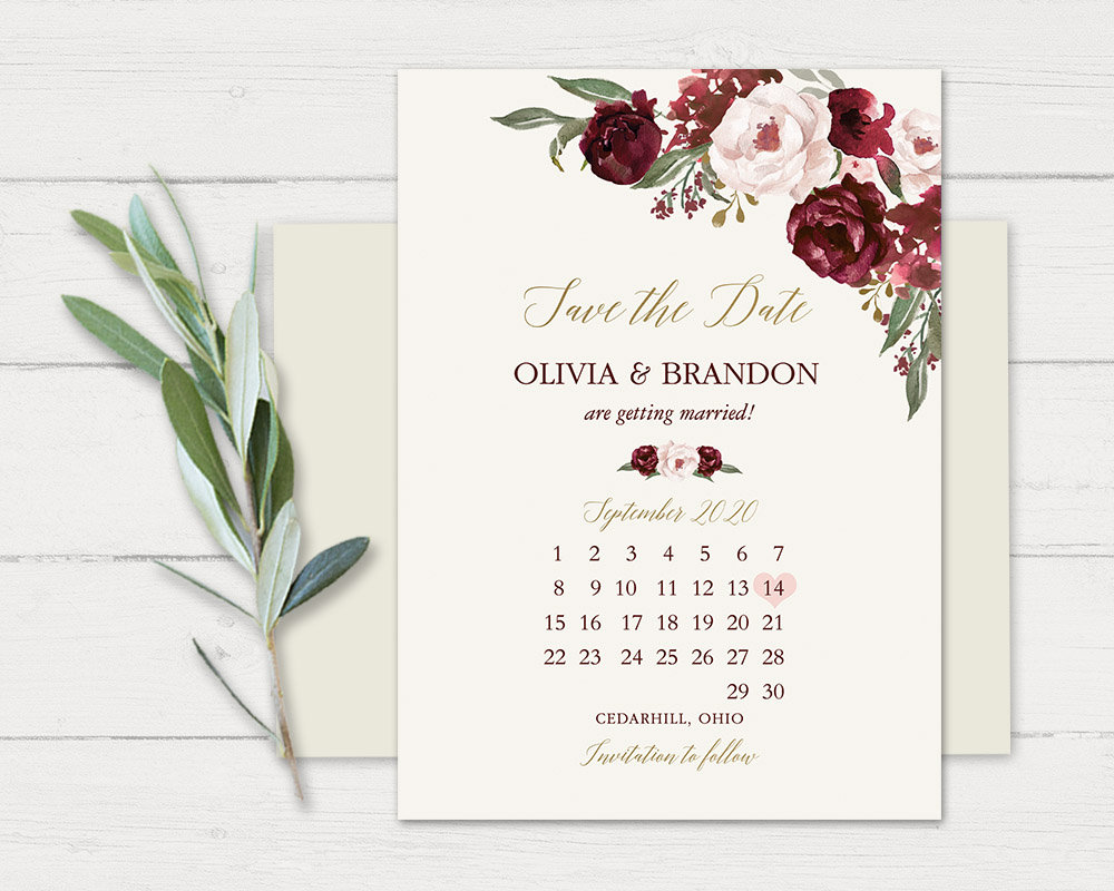 Save The Date Card, Wedding Announcement, Floral Date, Calendar Style Burgundy & Blush Invitation Cards