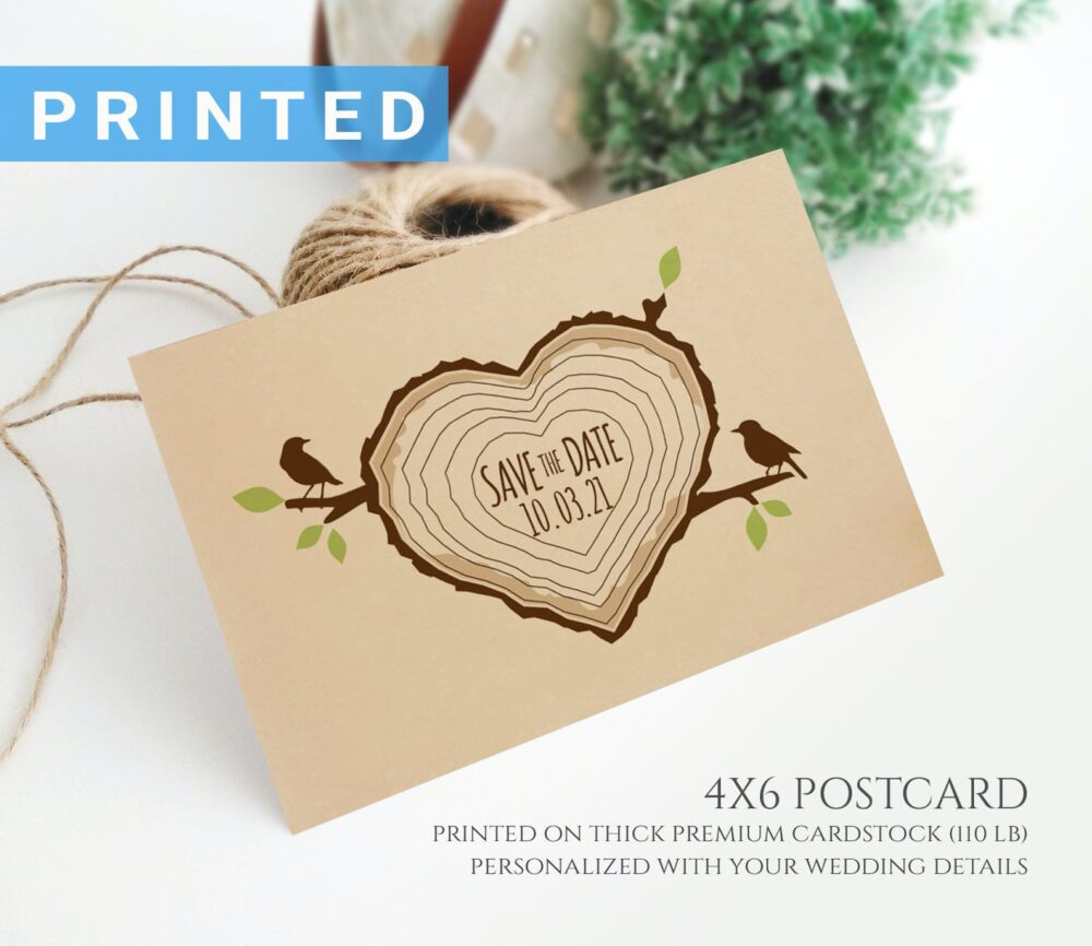 Forest Wedding Save The Date Postcard | Tree Stump Save Date Postcards Printed On Kraft Card Stock