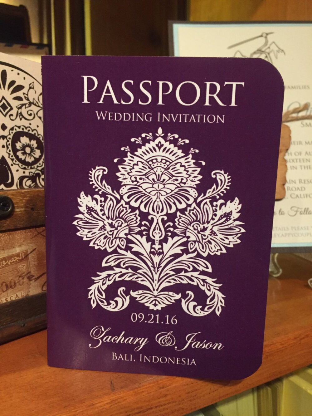 Bali Wedding Invitation, Passport Invitation