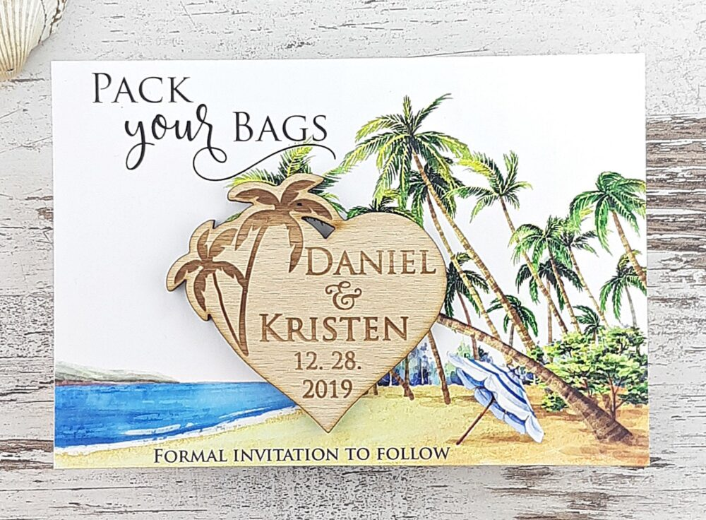 Save The Date Magnet Palm Tree, Wood Wedding Magnet, Rustic Beach Date, Pack Your Bag Custom Save Date