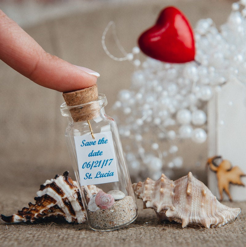 Wedding Favors Blue Save The Date Beach Favor Ocean Gifts For Guests Small Cork Bottle Seashell Keepsake Message in A Bottle