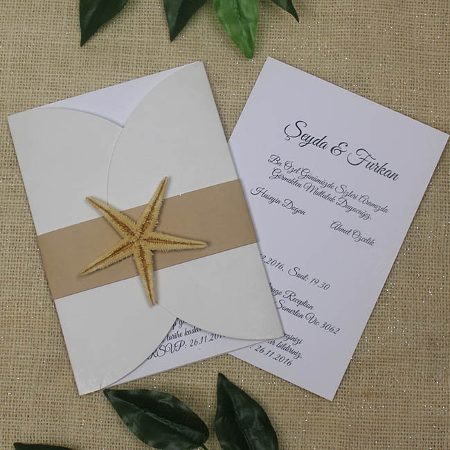 Beach Wedding Invitations, Starfish Invitationbeach Marriage Invitation, Coastal Finger Starfish, Unique Invitations