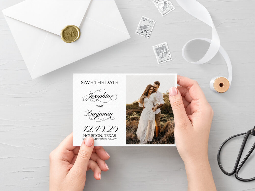Elegant Wedding Photo Save The Date Card, Simple Printable Date, Black & White Dates, Traditional