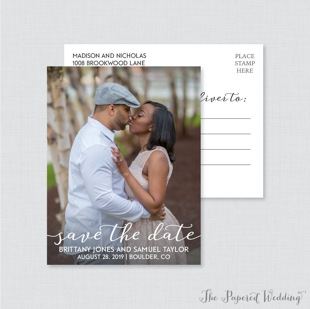 Printable Or Printed Photo Save The Date Postcards - Simple Our For Wedding, Elegant Script Dates 104
