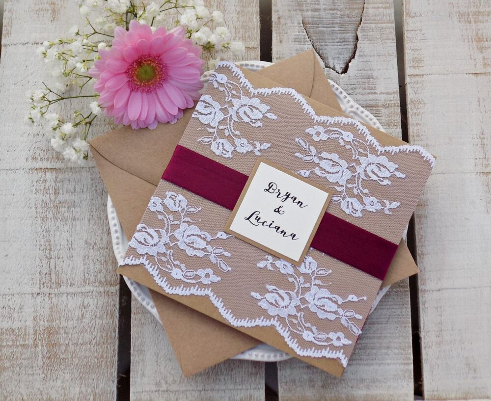 Burgundy Wedding Invitation Suite Rustic Set Lace Invite Vintage Scarlett