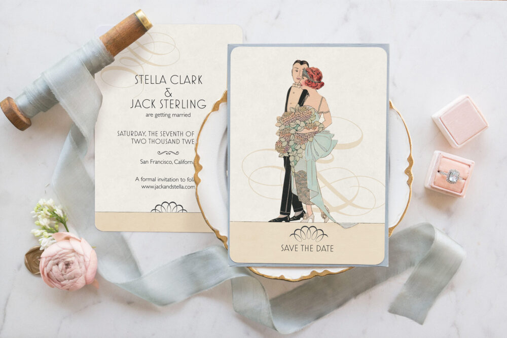 Art Deco Save The Date, Great Gatsby Wedding, Vintage 1920S Invitation
