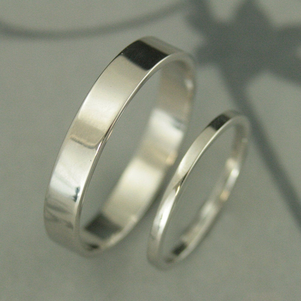 Platinum Wedding Rings Band Set His & Hers Flat Edge Bands 4mm Wide Ring Profile