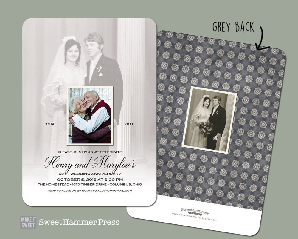 50Th Anniversary Invitation With Old Photos Printed Party Invitations 25Th 60Th