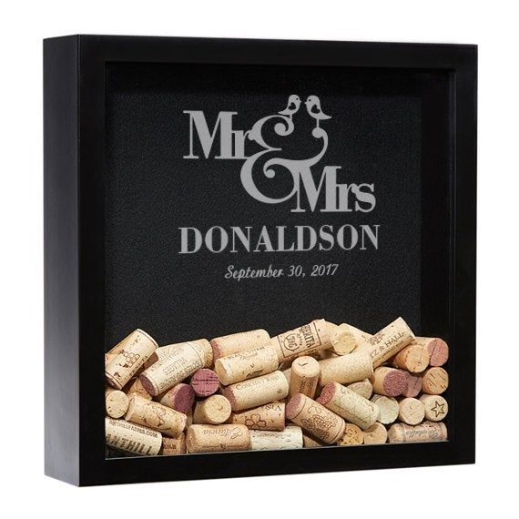 Wedding Shadow Box Guest Book, Wine Cork Holder, Personalized Box, Gifts For The Couple