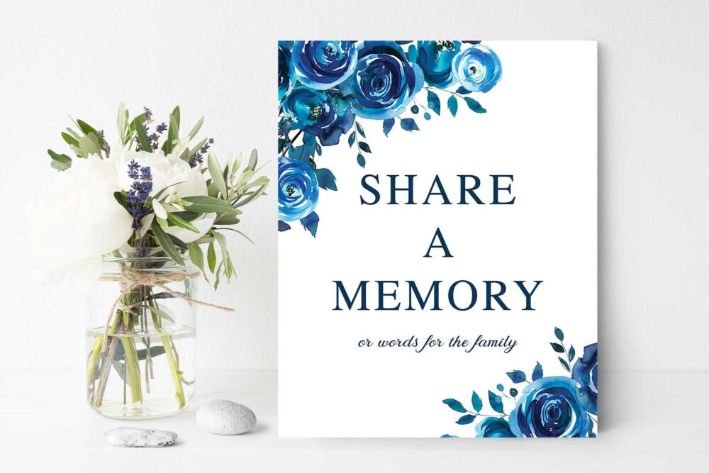Funeral Share A Memory Sign, Remembrance, 8 X 10 Poster Blue Floral in Loving Memory, Printed Or Printable