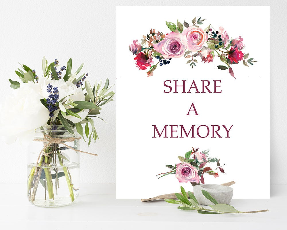 Funeral Share A Memory Sign | Printable Celebration Of Life Memorial Floral