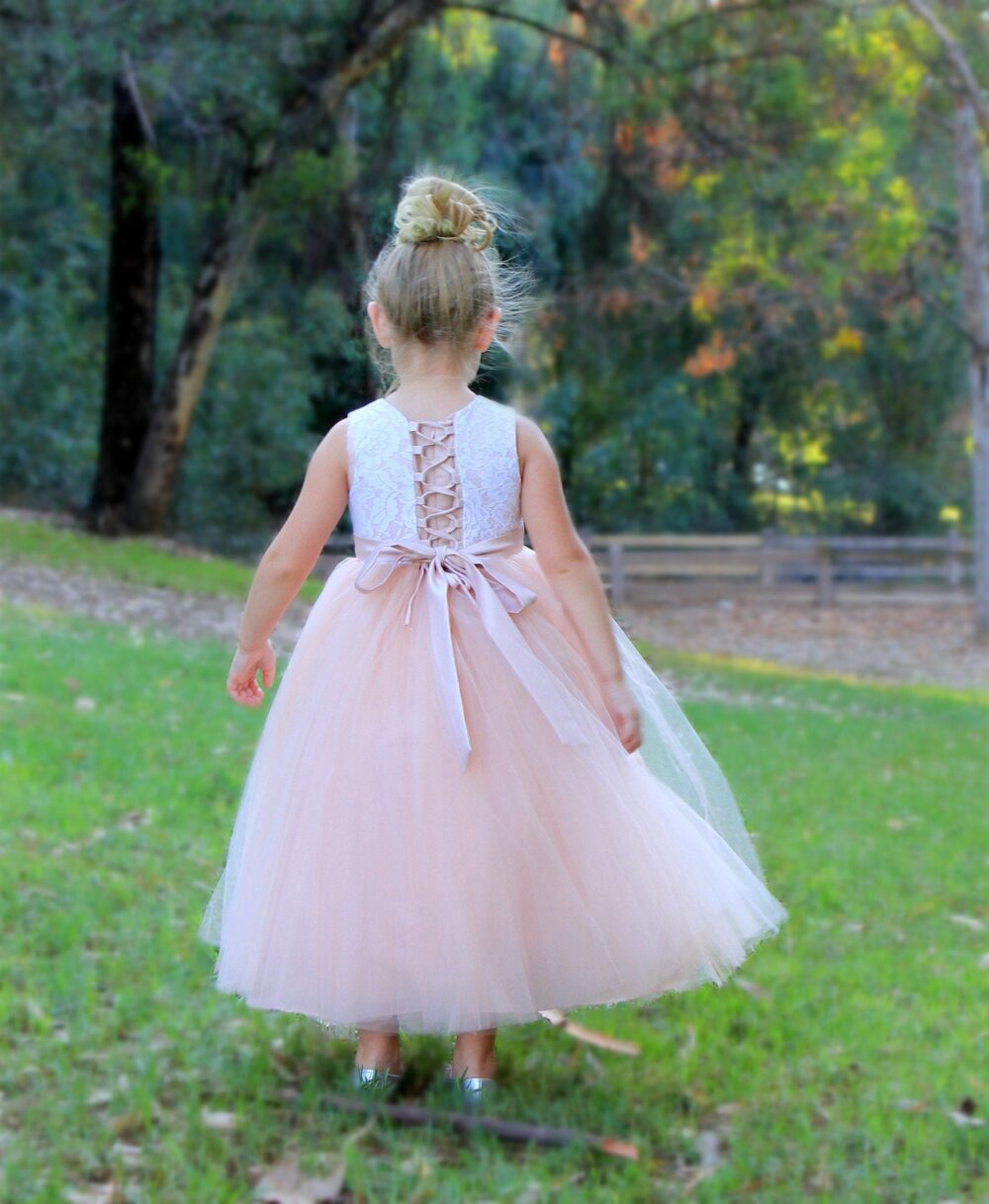 Tutu Tulle Floral Lace Pageant Girl Dress Wedding Flower Girl Dress Marine Blue Burgundy Peach Red Royal Lilac Purple Silver Coral White New