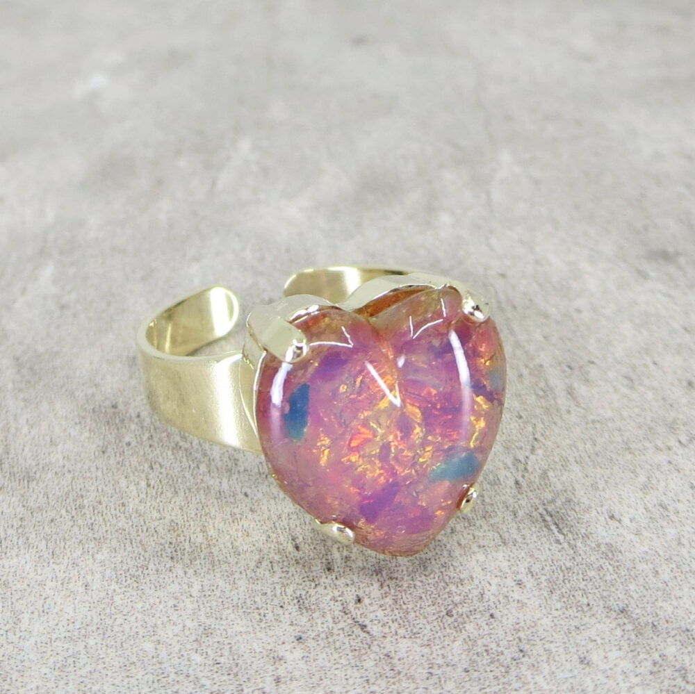 Pink Heart Ring Fire Opal Adjustable Harlequin Victorian Jewelry Gift