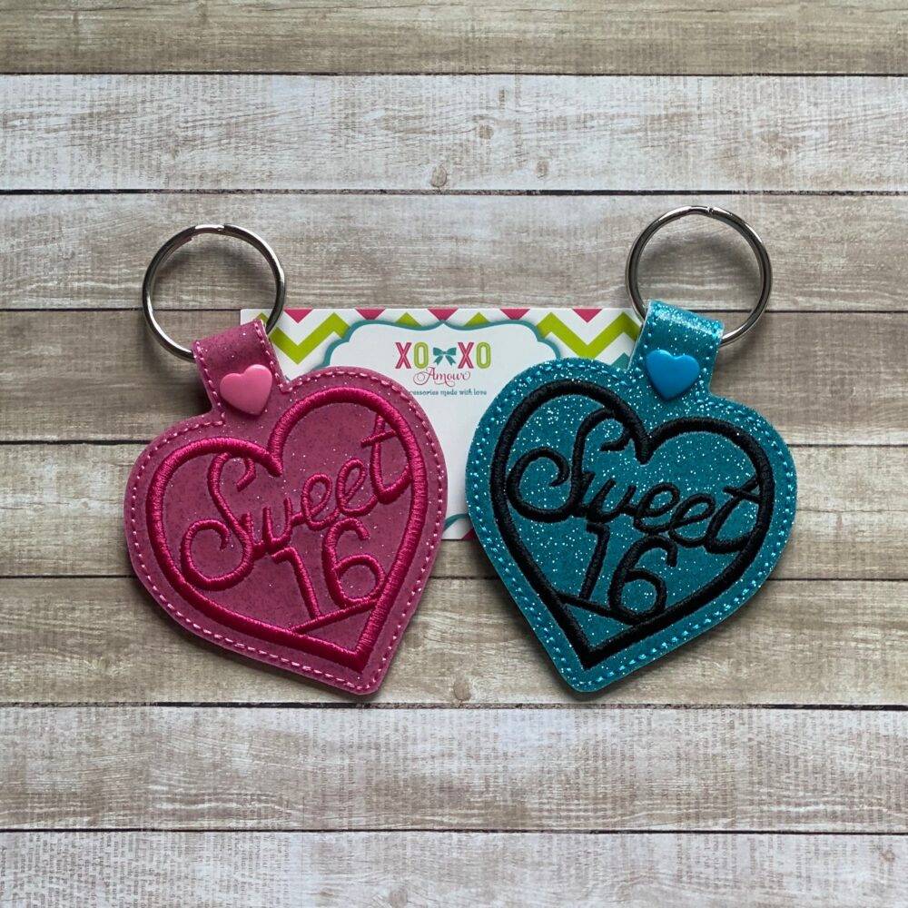 Sweet 16 Key Chain, Sixteen Snap Tab, Girly Fob, New Driver Hot Pink Heart Ring, Blue Charm, Xoxo Amour