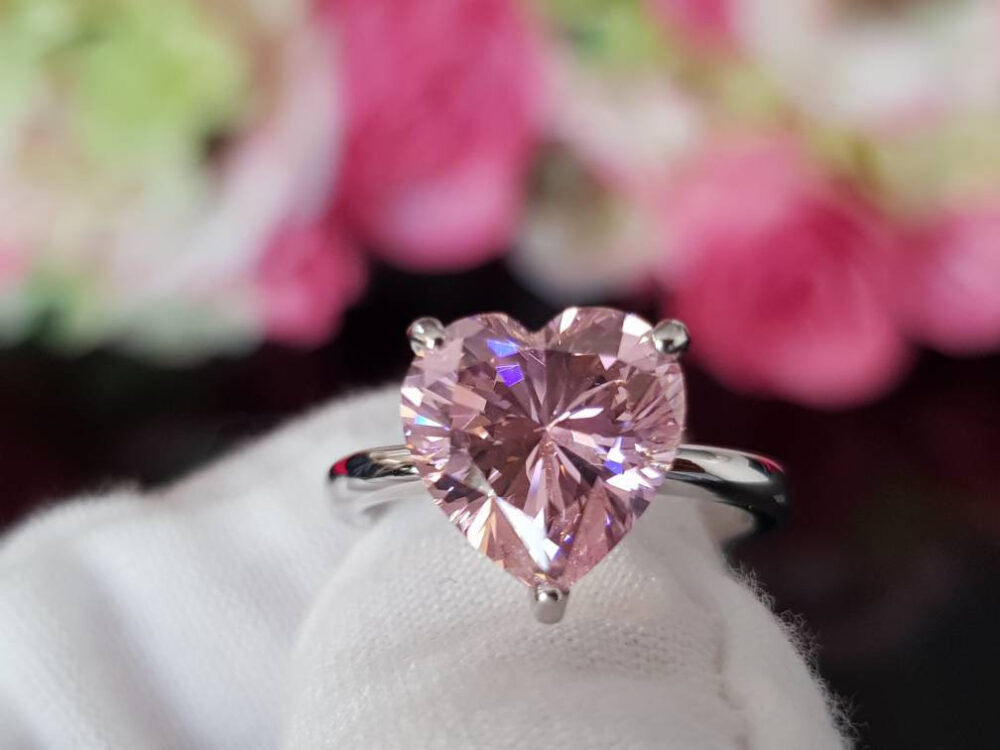 4 Ct Pink Heart Ring. Rings. Engagement Shaped Genuine 925 Silver Birthday Gifts