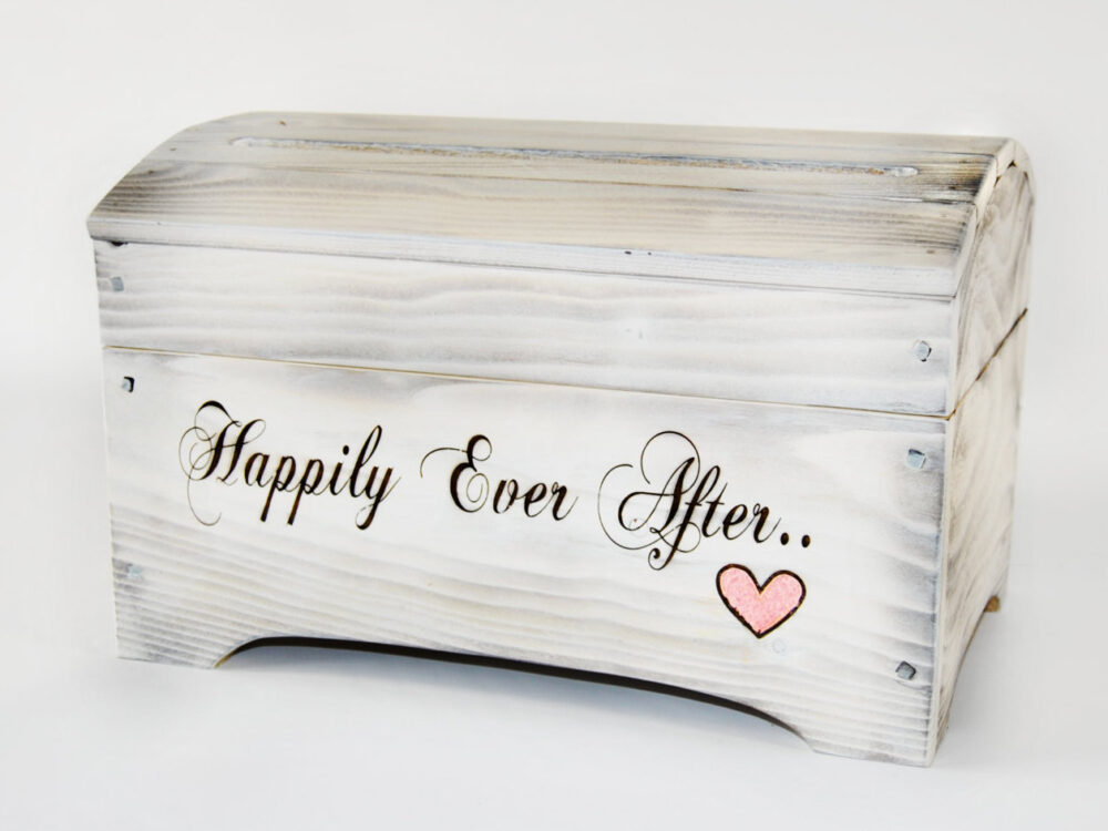 """Small """"Happily Ever After' Card Box For Wedding Cards in Shabby Chic White Wash"""