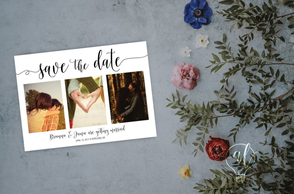 Multi Photo Save The Date, Save Date Wedding Announcement, Three Photo Minimalist Wedding, Engagement Announcement